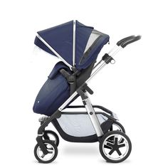The new Vintage Blue Silver Cross Pioneer pram system, shown here in pushchair mode.