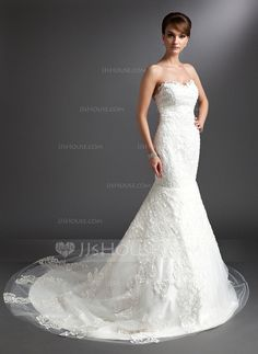 Wedding Dresses - $216.99 - Mermaid Sweetheart Chapel Train Satin Tulle Wedding Dress With Lace (002016376) http://jjshouse.com/Mermaid-Sweetheart-Chapel-Train-Satin-Tulle-Wedding-Dress-With-Lace-002016376-g16376
