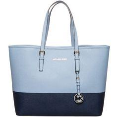 Color block Michael Kors tote in shades of blue Blue Handbags, Leather Handbags, Leather Totes, Michael Kors Jet Set, Navy Blue Purse, Best Purses, Travel Tote, Blue Bags, Handbags Michael Kors