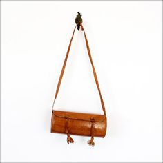 tribal tooled leather barrel purse / structured bag by OmniaVTG, $35.00