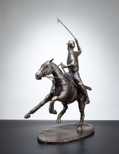 #Bronze #sculpture by #sculptor Kate Harding titled: 'Open (Little Polo Pony and Rider Indoor bronze statue)'. #KateHarding