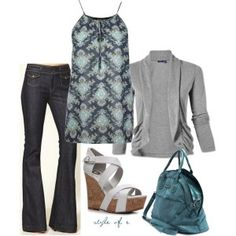 Patterned tank, under sweater over dark wash flairs and strappy white wedges