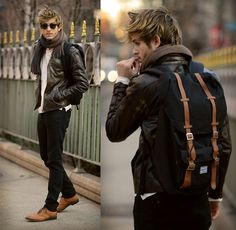 Leather jacket by Viparo, Scarf by UrbanO, Shoes by J.D. Fisk, Backpack by Herschel