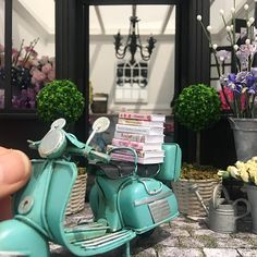 """397 Likes, 17 Comments - Miniature Touch Of Elegance (@lavenderbelle_miniatures) on Instagram: """"All these books arrived today! 📚 Lucky I had the Vespa to pick them up from the post office 😋🛵…"""""""