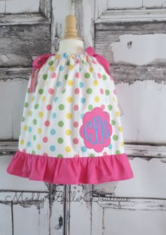 Cute Pastel Polka Dot Monogrammed Ruffle by MaddyBelleBoutique, $29.00
