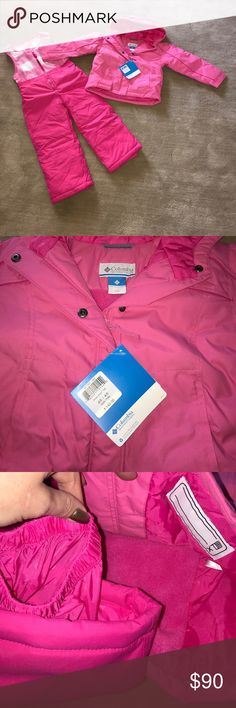 "Columbia Girls Pink Ski Suit & Jacket 4/5 NWT $140 ""Snow Glow Set"" Fully lined. Nice and warm! Columbia Other"