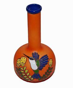 Keramiek Vega Ecuador, bolvaasje met Kolibrie, oranje