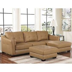 Chelsie Top Grain Leather Chaise Sectional and Ottoman 2,799 Top Grain Leather, Beige, Right-facing Chaise, Left-facing Sofa, Ottoman, by Abbyson Living®