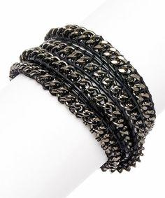Look at this #zulilyfind! Black & Gunmetal Chain Wrap Bracelet #zulilyfinds