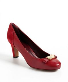 $285, Red Leather Pumps: Marc by Marc Jacobs Round Toe Leather Pumps. Sold by Lord