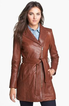 'Sophie' Leather Trench Coat