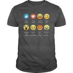 Cool I Love Donald Trump Emoji Emoticon Graphic Tee Shirt T-Shirts