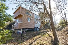 Your resource for building tiny house on wheels (THOW). DIY tiny house is built on a trailer; a simple, mobile, efficient form of housing. Building A Tiny House, Tiny House Plans, House Floor Plans, Modern Tiny House, Tiny House Living, Small Living, Portable Tiny Houses, Tiny House France, Small Houses On Wheels