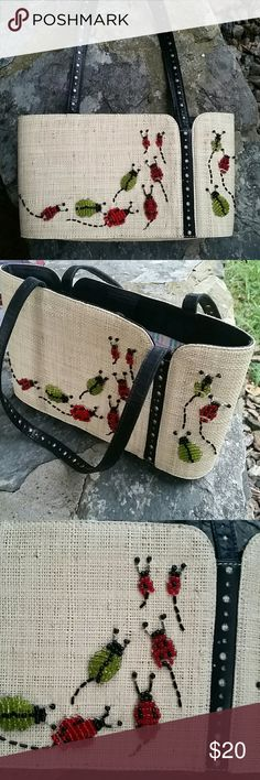 LAUREN TANGO PURSE Excellent condition like new straw body hand beaded lady bugs leather straps. So unique! Great for summer or vacationing Lauren Tango New York  Bags Shoulder Bags