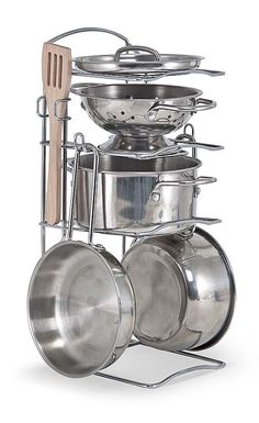 This play set features shiny stainless steel cookware Mom and Dad would envy! Generously sized (5 inch diameter) for a more realistic look and feel, the colander and three pans (with interchangeable lid) fit most play food items for exciting restaurant and kitchen play, and store neatly on a convenient storage rack when the kitchen is closed.