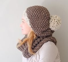 Chunky Pom Pom Hat / Hand Knit Winter Beanie Hat by Accessodium