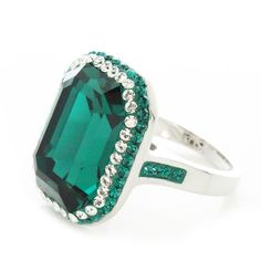 Swarovski Element Halo Pave Rectangle Emerald Ring - Artune Jewelry Online