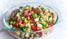 5 Minute Chopped Chickpea Salad with Hemp Seeds