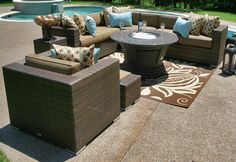 The Palmetto Collection All Weather Wicker Patio Furniture Sectional w/Gas Fire Pit Table