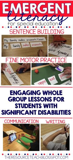 Emergent Literacy for students with significant disabilities. This is a perfect way to introduce whole group literacy concepts in an autism or special education classroom. I love that it focuses on sentence building and fine motor skills! Teaching Special Education, Education And Literacy, Literacy Skills, Student Teaching, Teaching Resources, Autism Resources, Early Literacy, Student Work, Reading Centers