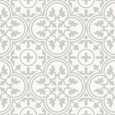 Die MiraColour Zementfliese A 502-8 mit schönem floralem Muster in Hellgrau auf weißem Hintergrund.