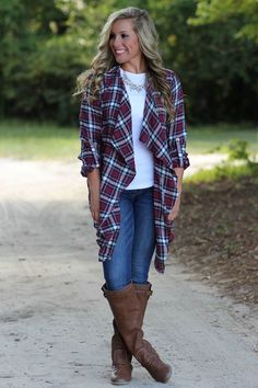 7a9bfbb9401 A Fall Day Plaid Cardigan  Navy Wine - Lavish Boutique