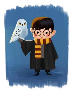 Harry Potter and Hedwig  by Steph Lew Art