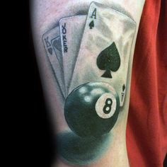Shaded 3d 8 Ball With Playing Cards Mens Arm Tattoos