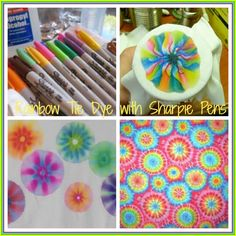 Sharpie rainbow tie dye project -- more fun with rainbows in time for St… Sharpie Crafts, Sharpie Art, Sharpies, Sharpie Projects, Sharpie Markers, Craft Projects, Summer Camp Crafts, Camping Crafts, Summer Fun