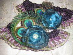 Peacock Feather Garter Wedding Garter Set by NakedOrchidGarters@guidesforbrides