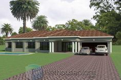 3 Bedroom House Plans South Africa   One Storey House   NethouseplansNethouseplans Architect Design House, House Gate Design, Village House Design, Double Storey House Plans, One Storey House, Tuscan House Plans, Dream House Plans, Dream Houses, Contemporary House Plans