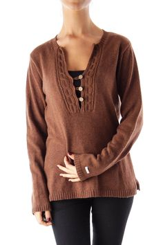 Like this Columbia sweater? Shop this without using money! Trade. Shop. Discover. #fashionexchange #prelovedfashion  Brown V Neck Sweater by Columbia