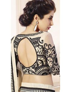 Off-White And Black Shimmer Georgette Embroidered Saree …
