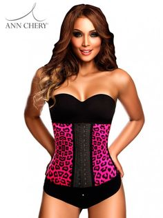 48474b5e781 ANN CHERY 2024 Latex Sport Workout Waist Cincher 2 Rows Hooks Corset Animal  Print Fuchsia