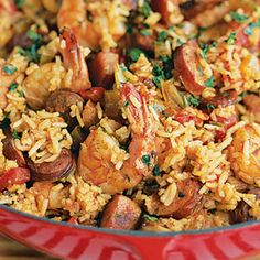 Shrimp and Sausage Jambalaya: Many Cajun and Creole dishes are seasoned with the so-called holy trinity--bell pepper, onion, and celery. This Creole-style jambalaya has lots of tomato in it. Cajun Recipes, Sausage Recipes, Seafood Recipes, Cooking Recipes, Haitian Recipes, Louisiana Recipes, Donut Recipes, Hcg Recipes, Southern Recipes
