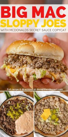 Big Mac Sloppy Joes are a delicious one pan meal with a McDonald s Big Mac Secret Sauce Copycat made in 30 minutes You ll never need the drive-thru again sloppyjoes bigmac copycatrecipes mcdonaldsrecipes secretsauce mcdonalds dinnerthendessert Big Mac, Quick Meals, Healthy Meals, Healthy Recipes, Healthy Sloppy Joe Recipe, Best Sloppy Joe Recipe, Sloppy Joes Recipe, Salad Recipes, Healthy Sloppy Joes