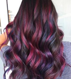 High-Contrast, Burgundy Waves - All For Hair Color Trending Brown Ombre Hair, Burgundy Hair, Purple Hair, Violet Hair, Mom Hairstyles, Pretty Hairstyles, Nails Short, Hair Color And Cut, Dyed Hair