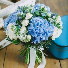 No image description available. Prom Flowers, Blue Wedding Flowers, Bridal Flowers, Floral Wedding, Wedding Colors, Hydrangea Bouquet Wedding, Blue Bouquet, Bride Bouquets, Floral Bouquets