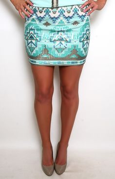 Treasure of the Aztec Skirt in Mint find more womens fashion on www.misspool.com