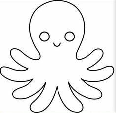 Cute Octopus Line Art Octopus Outline, Cute Octopus, Octopus Octopus, Felt Animal Patterns, Stuffed Animal Patterns, Decoration Creche, Fish Template, Animal Templates, Ocean Crafts