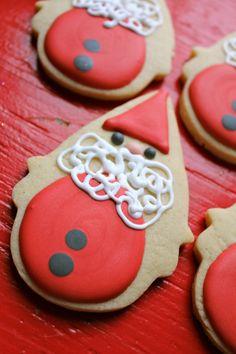 Love these Scandinavian inspired Santa cookies