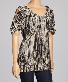 Black Abstract Cut-Out Top - Plus
