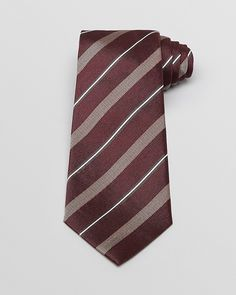 $150, Burgundy Horizontal Striped Tie: Armani Collezioni Woven Contrast Stripe Classic Tie. Sold by Bloomingdale's. Click for more info: http://lookastic.com/men/shop_items/9605/redirect