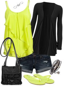 Neon silk ruffle tank over denim shorts and a light black cardigan. Yellow flip flops to match and a black cross-body bag. LOVE the colors! First Date Outfits, Summer Outfits, Neon Outfits, Night Outfits, Simple Outfits, Passion For Fashion, Love Fashion, Womens Fashion, Fasion