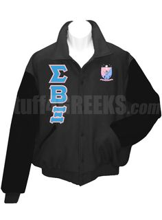 Black Sigma Beta Xi Letterman Varsity Jacket with black sleeves, the Greek letters down the right, and the crest on the left breast.