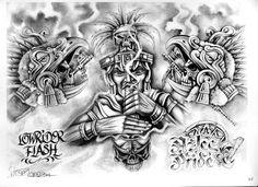 Aztec Tattoos Sleeve, Best Sleeve Tattoos, Ear Tattoos, Tribal Tattoos, Mayan Tattoos, Mexican Art Tattoos, Chicano Art Tattoos, Chicano Lettering, Tatuagem Azteca