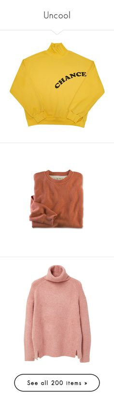 """""""Uncool"""" by weird-uncle ❤ liked on Polyvore featuring tops, sweaters, shirts, clothing - ls tops, yellow shirts, shirt top, yellow top, jumpers, long shirts and cotton shirts"""