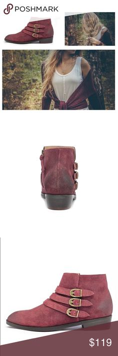 "Wine Suede Triple Threat Buckle Booties Fits true to size Side zip Distressed Suede upper Leather insole Dimensions 1.25"" stacked leather heel. By Naomi Reid X Anthropologie Anthropologie Shoes Ankle Boots & Booties"