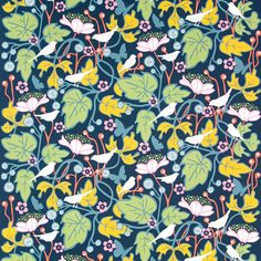 Kinnamark Kvitter Blue Scandinavian Fabric -Hanna Werning's striking design features finches & fruiting vines printed on a deep blue ground. Curtain Fabric, Curtains, Scandinavian Fabric, Textiles, Fabric Crafts, Upcycle, Kids Rugs, Home Decor, Loft