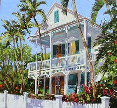 Cuban Consulate ,Key West by Peter Vey Oil ~ x Watercolor Landscape, Watercolor Art, Key West Decor, Caribbean Art, West Art, Beach Cottages, Beach Houses, Tropical Art, Artist Gallery